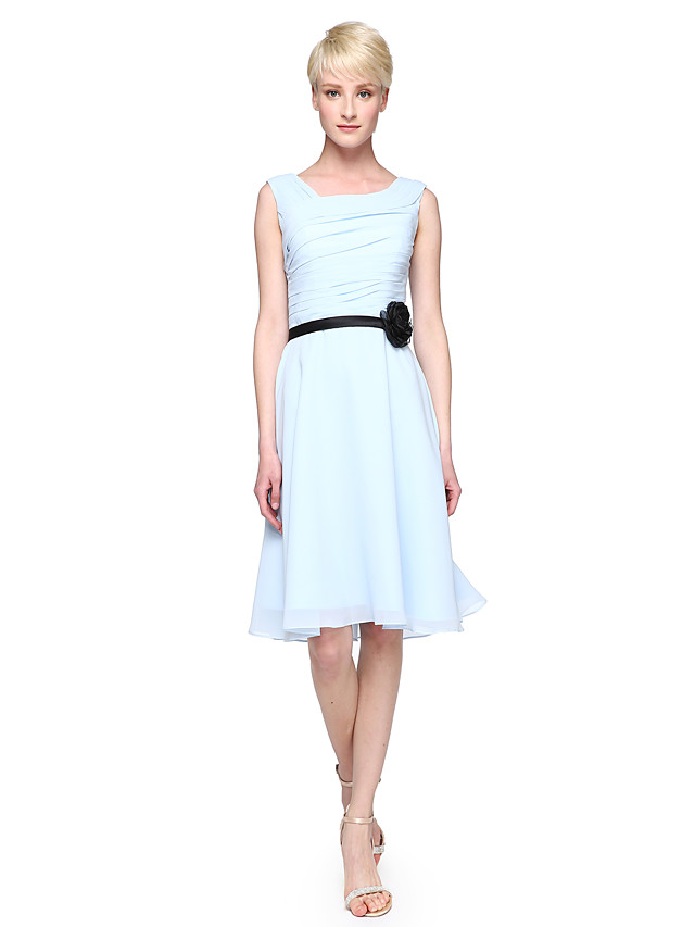 A-Line / Ball Gown Square Neck Knee Length Chiffon Bridesmaid Dress with Sash / Ribbon / Side Draping / Flower by LAN TING BRIDE®