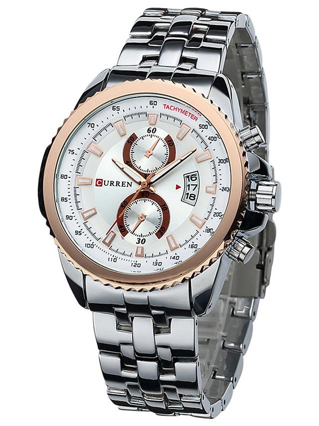 Men's Wrist Watch Quartz Multi-Colored 30 m Calendar / date / day Analog Charm Classic Fashion Dress Watch - Black / White White / Gold Black