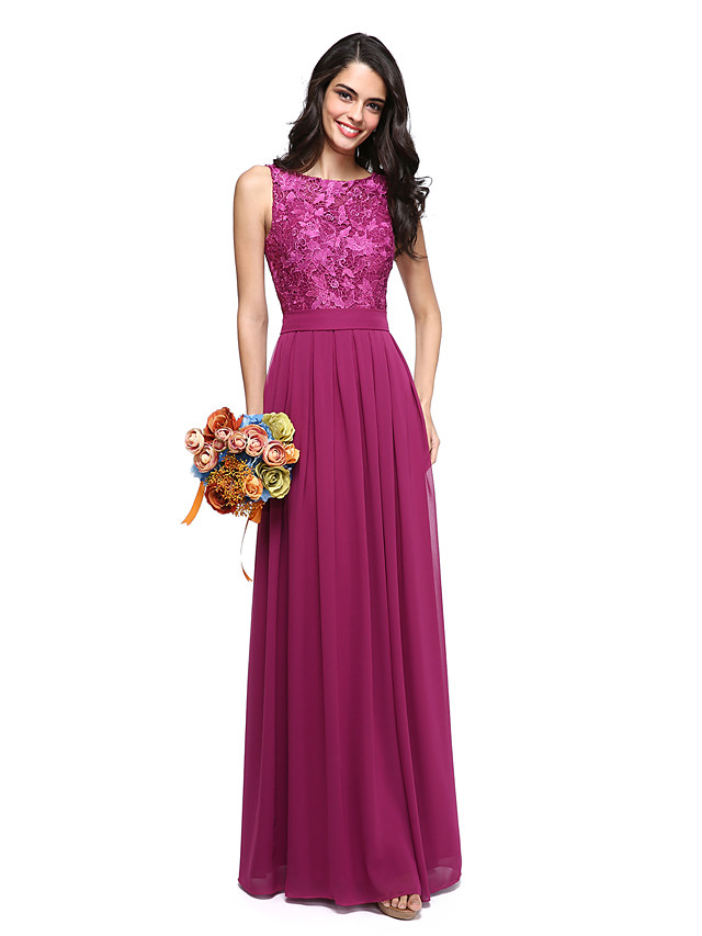 A-Line Jewel Neck Floor Length Chiffon / Lace Bodice Bridesmaid Dress with Sash / Ribbon