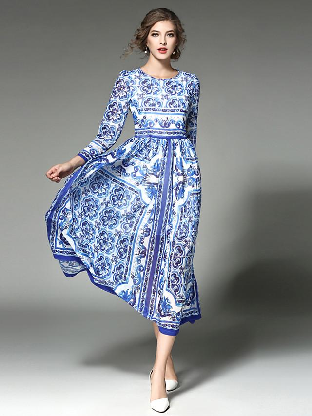 Women's Swing Dress Midi Dress Patchwork All Seasons Vintage Streetwear Sophisticated Holiday Going out Cotton Boho / Beach Blue S M L XL XXL