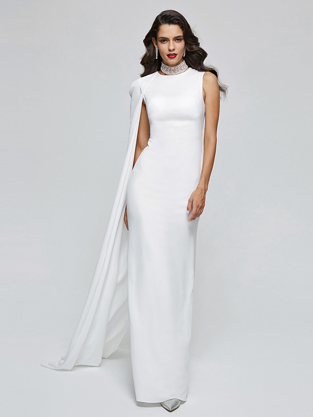 Sheath / Column Elegant Celebrity Style Formal Evening Dress Jewel Sleeveless Floor Length Chiffon with Pleats 2020