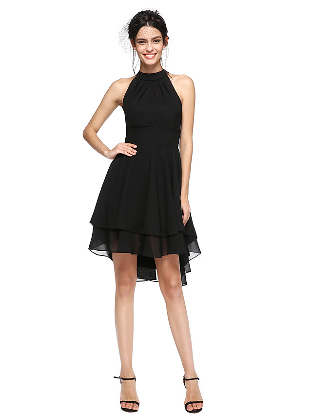 A-Line Little Black Dress Elegant High Low Homecoming Cocktail Party Dress High Neck Sleeveless Asymmetrical Chiffon with Pleats 2021