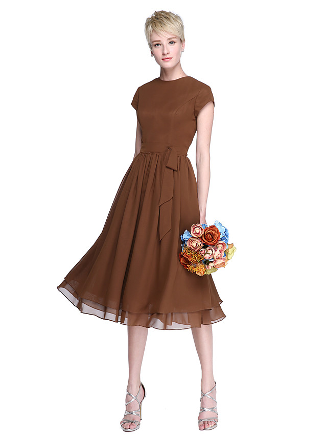 A-Line Jewel Neck Knee Length Chiffon Bridesmaid Dress with Bow(s) / Buttons