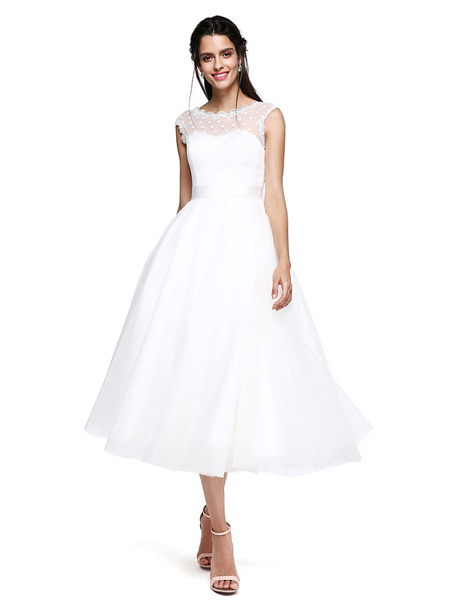 A-Line Elegant Minimalist Cocktail Party Formal Evening Dress Illusion Neck Sleeveless Tea Length Tulle with Bow(s) 2020