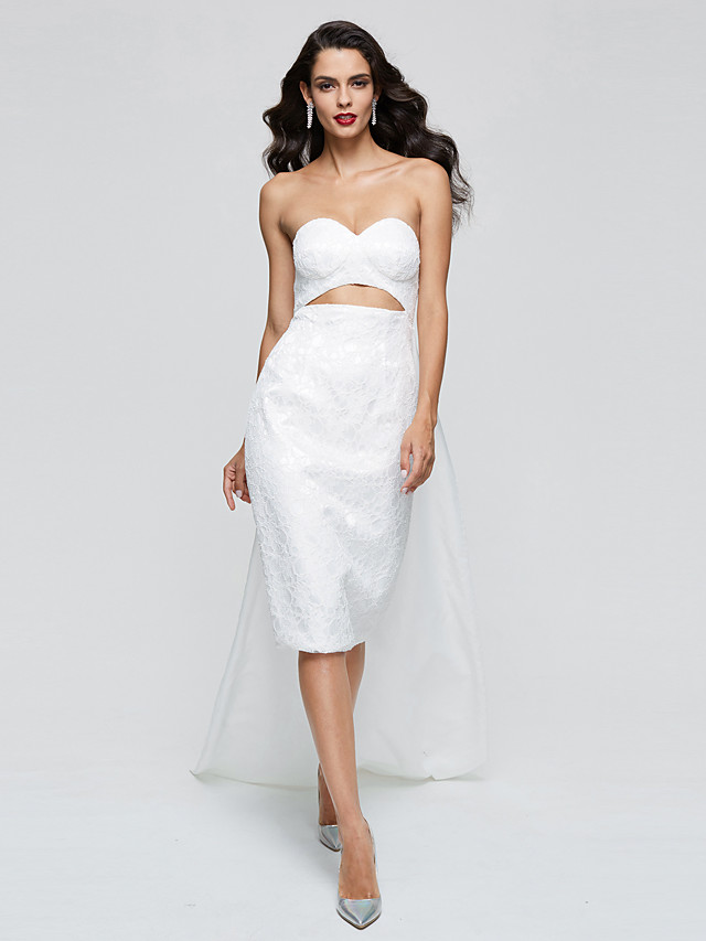 Sheath / Column Elegant Celebrity Style Inspired by Oscar Cocktail Party Dress Sweetheart Neckline Sleeveless Knee Length Lace with Pleats 2020