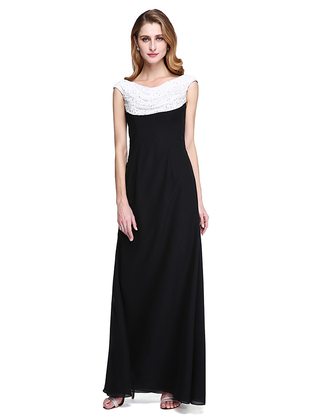 Sheath / Column Cowl Neck Floor Length Chiffon Sleeveless Color Block Mother of the Bride Dress with Pleats / Beading Mother's Day 2020