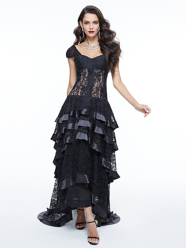Ball Gown Elegant Celebrity Style Holiday Cocktail Party Formal Evening Dress Off Shoulder Short Sleeve Asymmetrical Lace with Pleats Appliques 2020 / Illusion Sleeve