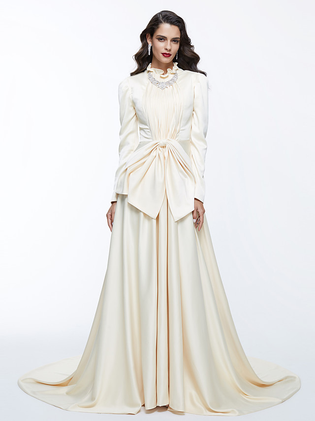 A-Line Celebrity Style White Engagement Formal Evening Dress High Neck Long Sleeve Chapel Train Satin with Bow(s) Pleats 2020
