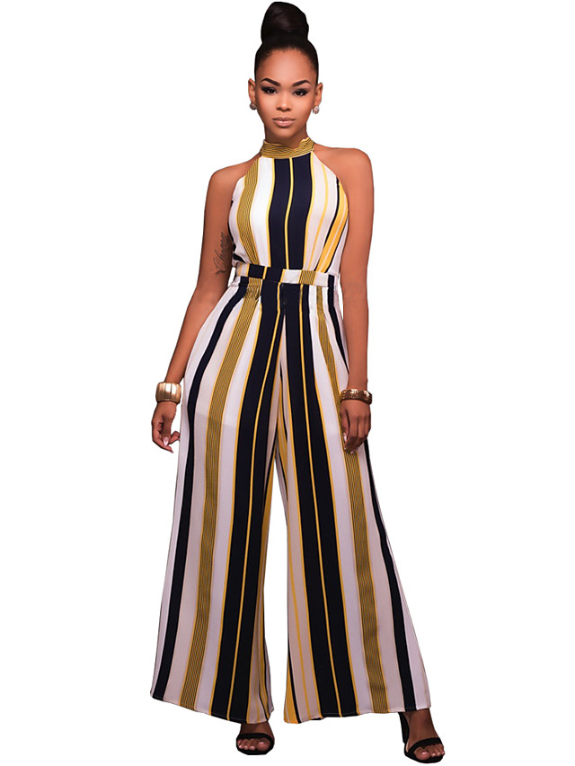 Women's Wide Leg Daily / Going out / Club Street chic Crew Neck Red Yellow Wide Leg Jumpsuit, Striped M L XL Sleeveless