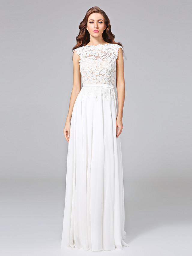 Sheath / Column Wedding Dresses Bateau Neck Sweep / Brush Train Chiffon Floral Lace Cap Sleeve Romantic Illusion Detail Backless with Bowknot Sash / Ribbon 2020