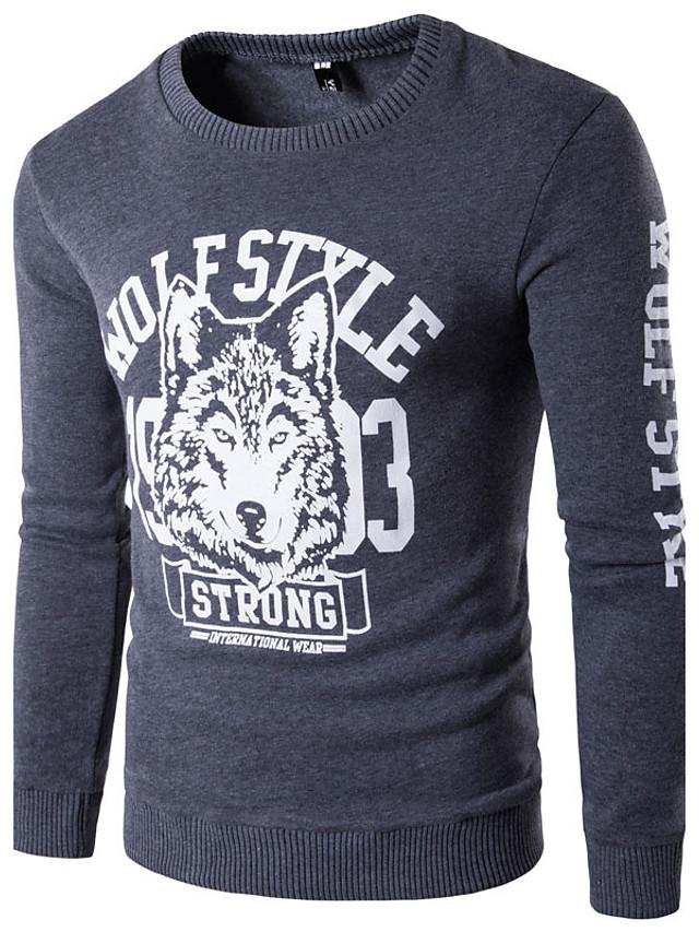Men's Long Sleeve Sweatshirt - 3D Print Round Neck Black L / Spring