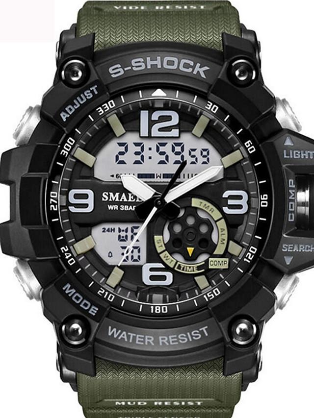 SMAEL Муж. Универсальные Спортивные часы Модные часы Армейские часы Цифровой Защита от влаги Аналого-цифровые Черный и золотой Черный / Синий Черный / Серебристый / Два года / Японский / силиконовый