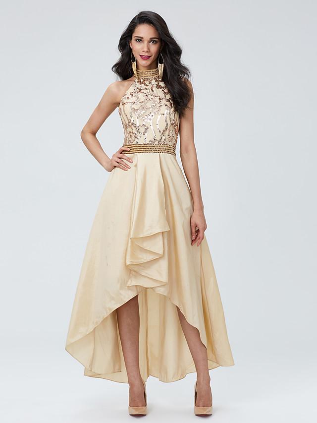 A-Line Beautiful Back Sparkle & Shine Beaded & Sequin Holiday Prom Dress Halter Neck Sleeveless Asymmetrical Taffeta Sequined with Pleats Beading 2020