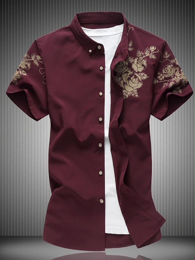 Men's Shirt Floral Short Sleeve Casual Tops Cotton Cotton White Wine Black / Beach