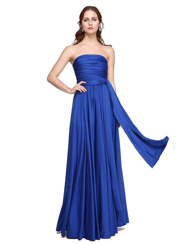 A-Line Floor Length Jersey Bridesmaid Dress with Criss Cross / Pleats / Convertible Dress