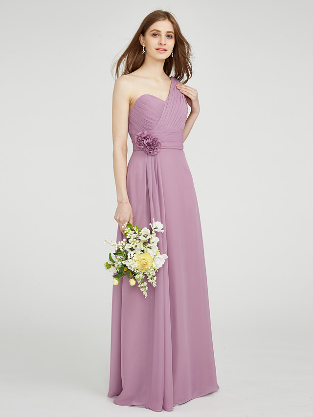 Sheath / Column One Shoulder Floor Length Chiffon Bridesmaid Dress with Draping / Criss Cross / Ruched