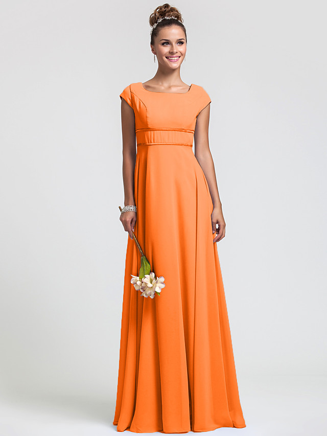 Sheath / Column Square Neck Floor Length Chiffon Bridesmaid Dress with Sash / Ribbon / Pleats