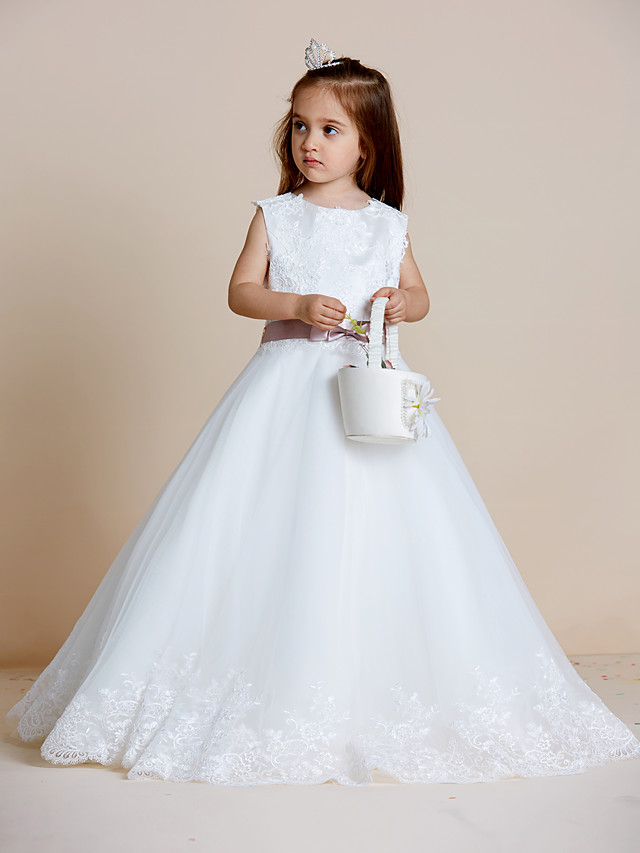A-Line Floor Length Wedding / First Communion Flower Girl Dresses - Satin / Tulle Sleeveless Jewel Neck with Sash / Ribbon / Bow(s) / Appliques