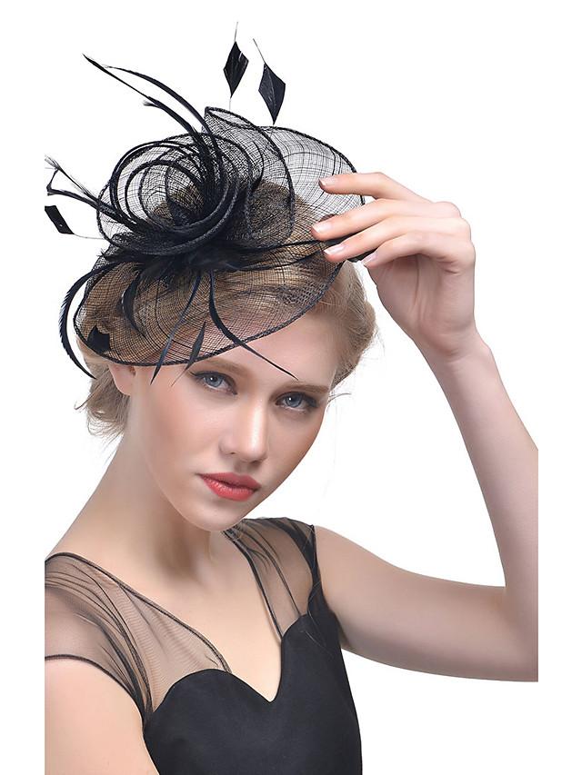 Naisten Käyttötarkoitus Party Hat Sulka Kangas Valkoinen Musta Purppura