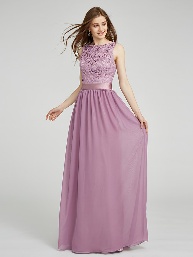 Sheath / Column Bateau Neck Floor Length Chiffon / Lace Bodice Bridesmaid Dress with Lace / Sash / Ribbon