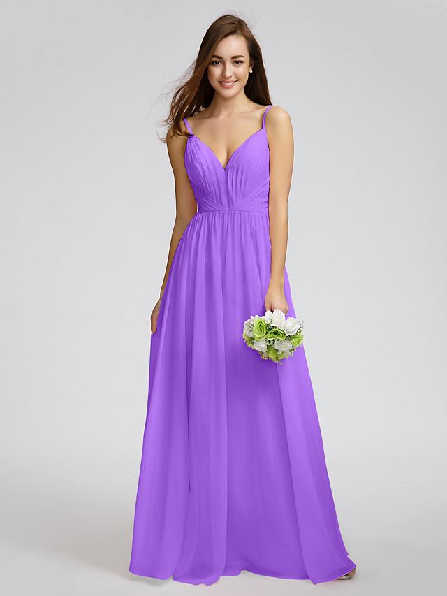 A-Line V Neck Spaghetti Straps Floor Length Chiffon Bridesmaid Dress ...