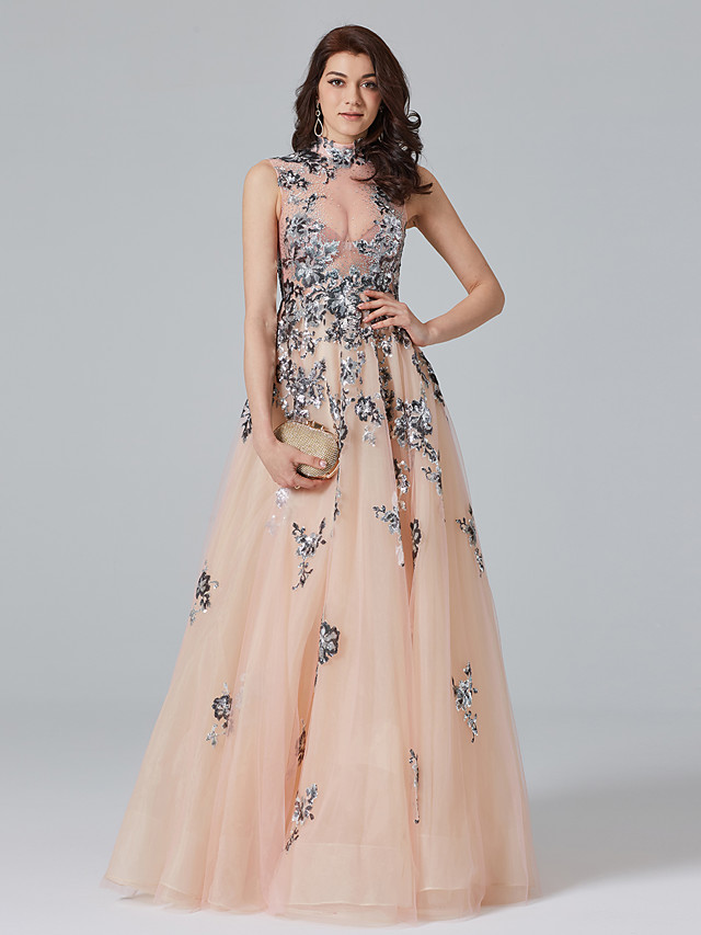 A-Line Celebrity Style Beautiful Back Sparkle & Shine Holiday Cocktail Party Prom Dress High Neck Sleeveless Floor Length Tulle with Crystals Sequin Appliques 2020 / Formal Evening / See Through