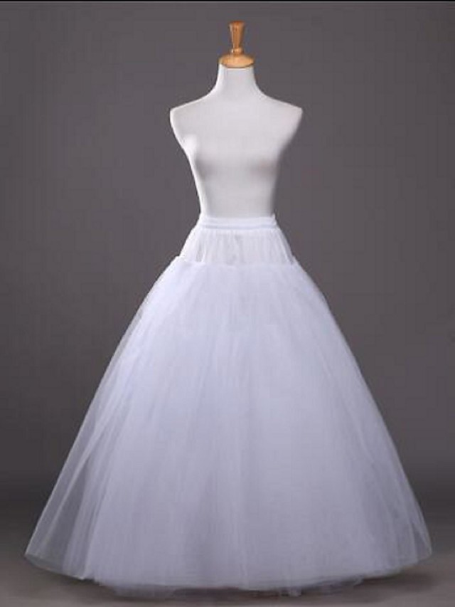 Wedding / Party / Evening Slips Tulle / Cotton / Polyester Floor-length / Tea-Length Glossy / A-Line Slip / Ball Gown Slip with White Bow