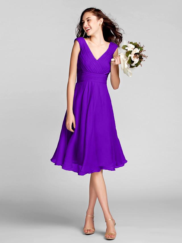 A-Line V Neck Knee Length Chiffon Bridesmaid Dress with Draping ...