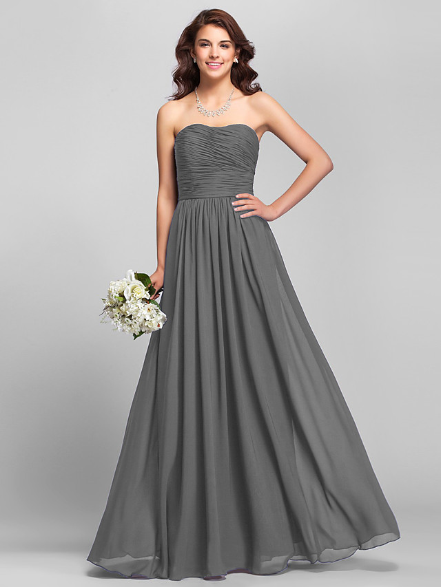 A-Line Strapless Floor Length Chiffon Bridesmaid Dress with Ruched / Side Draping