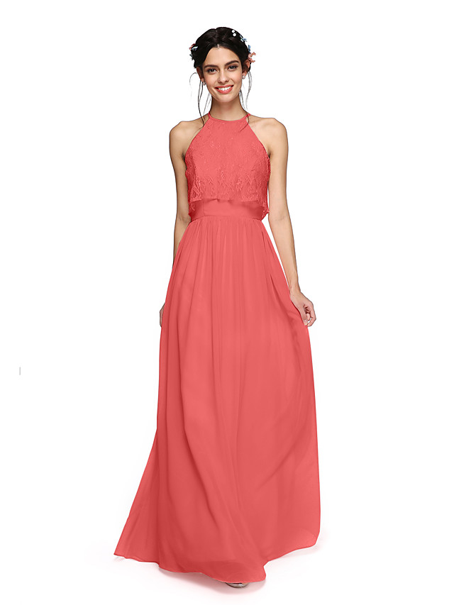 A-Line Halter Neck Floor Length Chiffon Bridesmaid Dress with Criss Cross / Ruched
