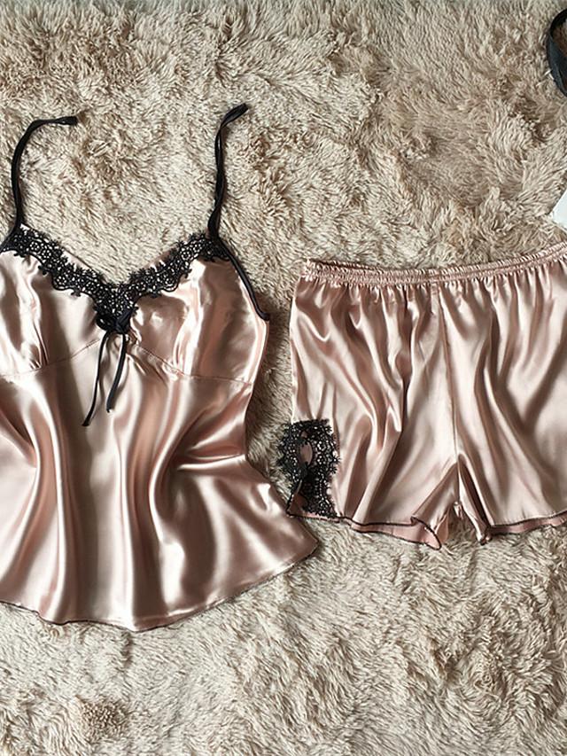 Dame Sexy Satin og silke Jakkesæt Nattøj Patchwork Lilla / Lyserød / Rosa M L XL