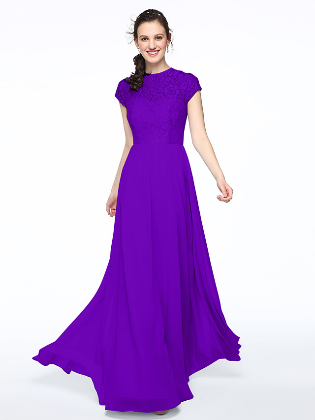 A-Line Jewel Neck Floor Length Chiffon / Lace Bodice Bridesmaid ...
