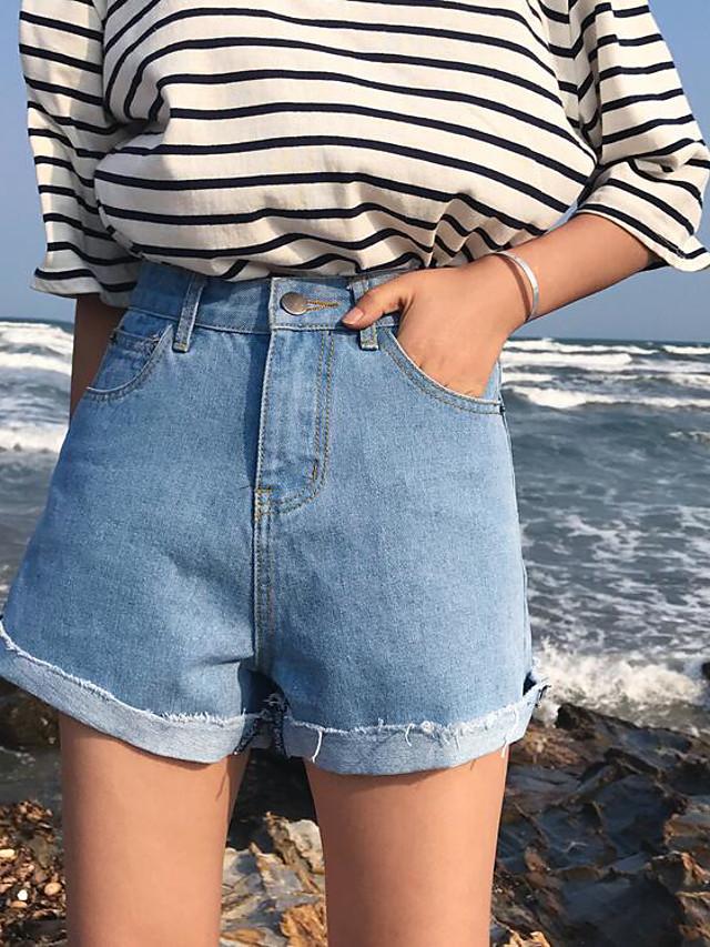 Mujer Chic De Calle Tiro Alto Corte Ancho Shorts Pantalones Un Color Verano Noche 5910080 2021 9 89