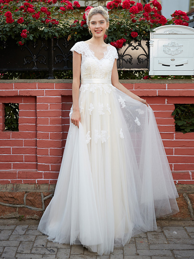 A-Line Wedding Dresses V Neck Floor Length Lace Over Tulle Short Sleeve with Sash / Ribbon Appliques 2020