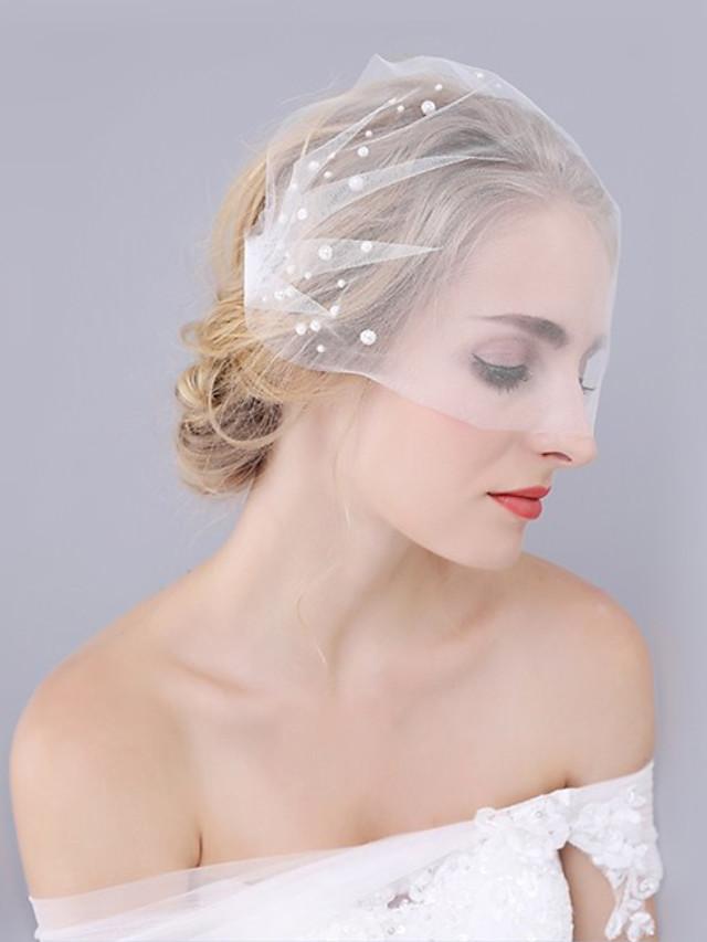 One-tier Cut Edge / Wedding Wedding Veil Wedding Veils with Lace Princess / Birdcage