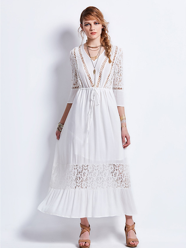 Women's Daily / Holiday Boho / Street chic Swing Dress - Embroidery V Neck Spring White M L XL