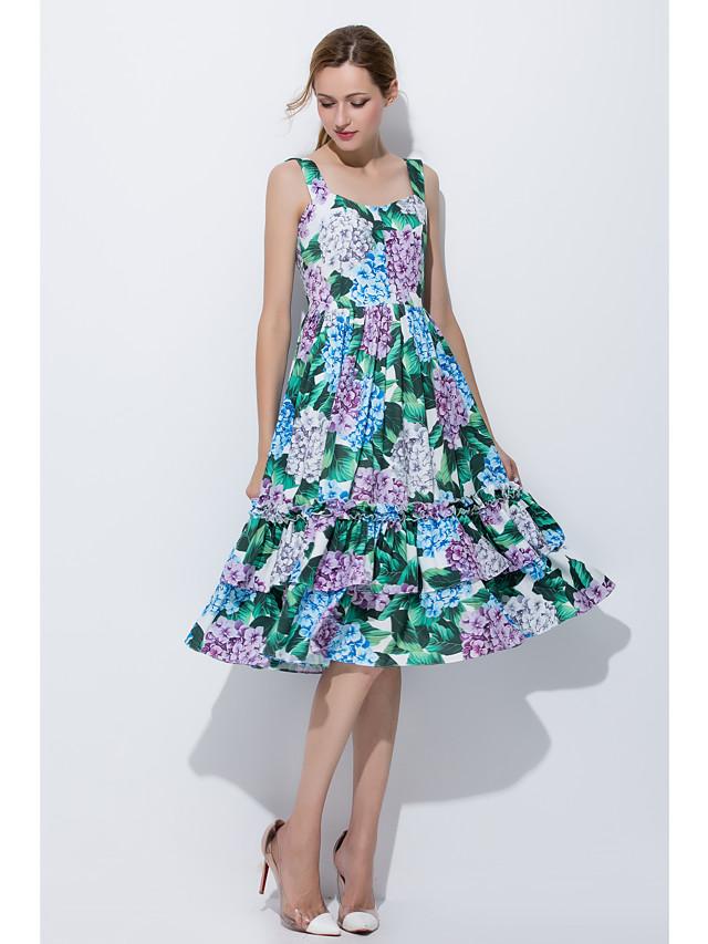 Damen A-Linie Kleid-Alltag Ausgehen Niedlich Druck Gurt Knielang Ärmellos Baumwolle Frühling Sommer Mittlere Hüfthöhe Unelastisch Mittel