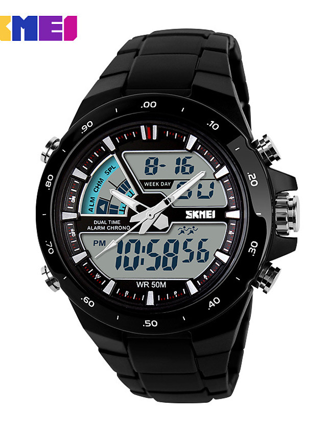 Men's Sport Watch Smartwatch Wrist Watch Digital Charm Water Resistant / Waterproof Quilted PU Leather Multi-Colored Analog - Digital - Black Black / Red Gold / Calendar / date / day / Chronograph