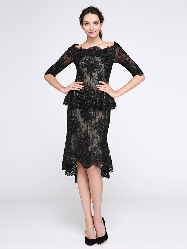 Sheath / Column Little Black Dress Cocktail Party Prom Dress Boat Neck Half Sleeve Knee Length Beaded Lace with Beading Appliques 2020