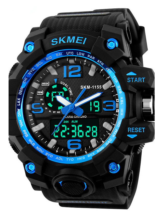 SKMEI Men's Sport Watch / Fashion Watch / Military Watch Japanese Alarm / Calendar / date / day / Chronograph PU Band Black / Water Resistant / Water Proof / LED / Dual Time Zones / Stopwatch