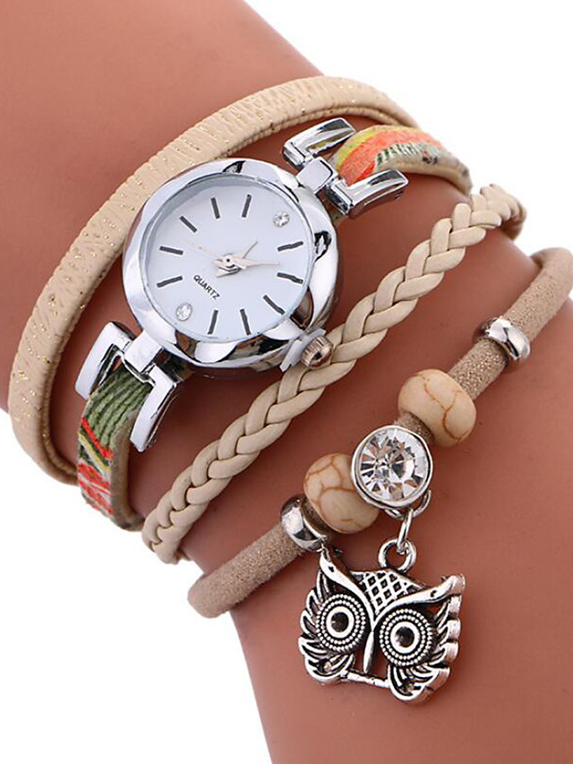 Women's Bracelet Watch Wrap Bracelet Watch Quartz Ladies Water Resistant / Waterproof Quilted PU Leather Black / White / Blue Analog - White Black Blue One Year Battery Life / Stainless Steel
