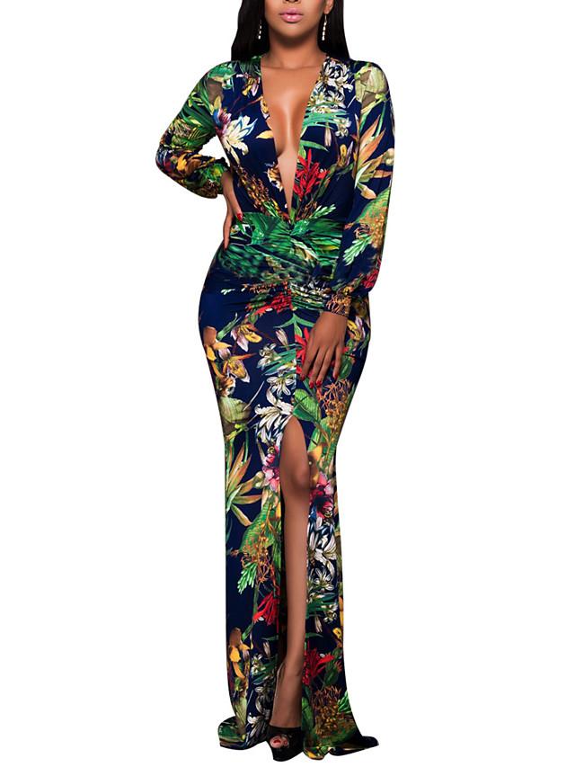 Women's Plus Size Maxi long Dress Bodycon - Long Sleeve Floral Print Spring Fall Deep V Boho Party Club Slim Floral Green S M L XL XXL XXXL / Sexy