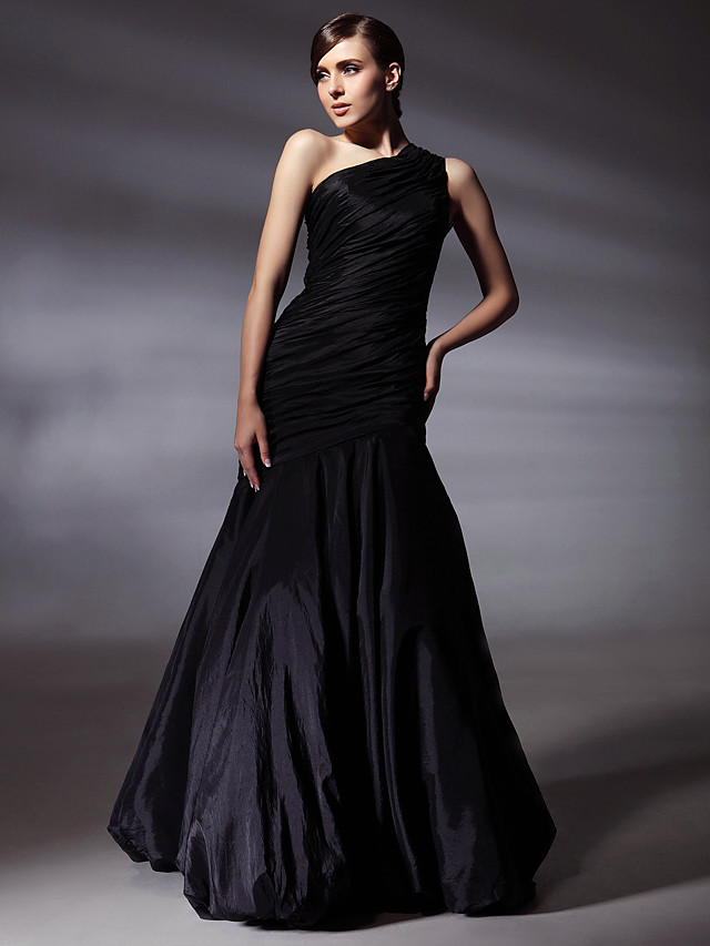 Mermaid / Trumpet Elegant Celebrity Style Inspired by Grammy Prom Formal Evening Dress One Shoulder Sleeveless Floor Length Taffeta with Side Draping 2020