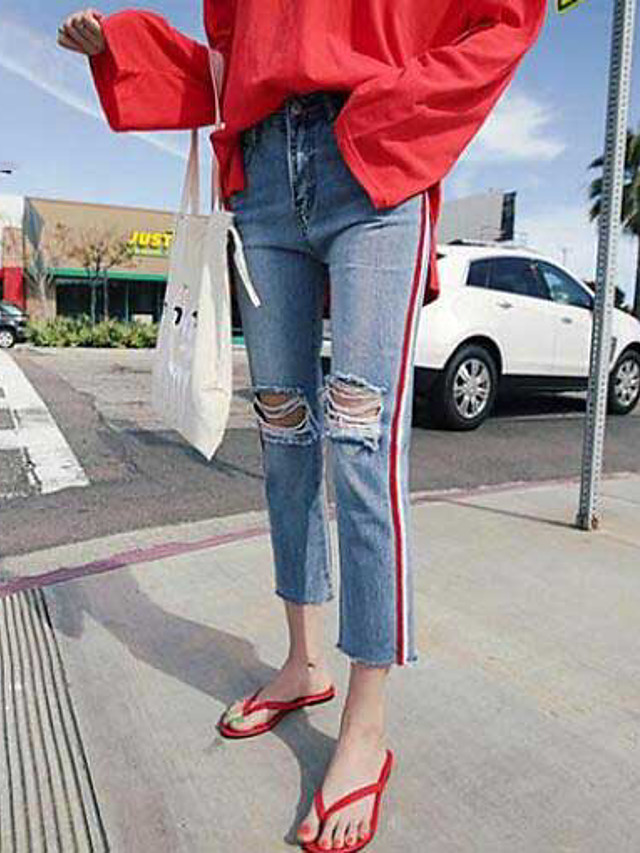Women's Casual Straight / Jeans Pants - Striped Blue