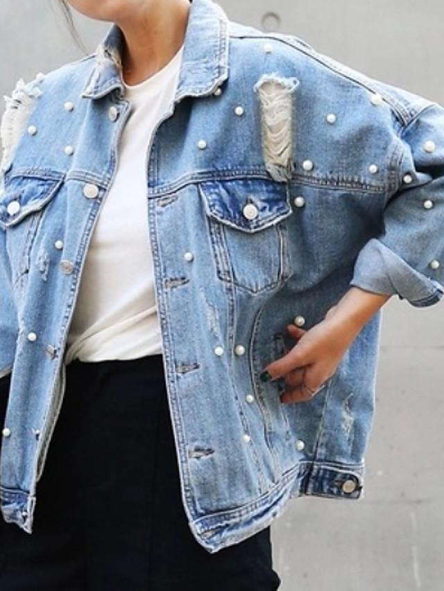 Mulheres Jaqueta jeans Sólido Outono Padrão Diário Manga Longa Ganga Casaco Blusas Azul Claro