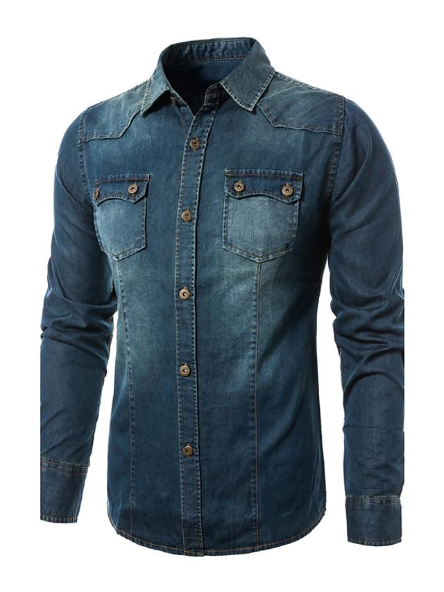 Homens Camisa Social Estampa Colorida Ganga Manga Longa Diário Blusas Algodão Azul