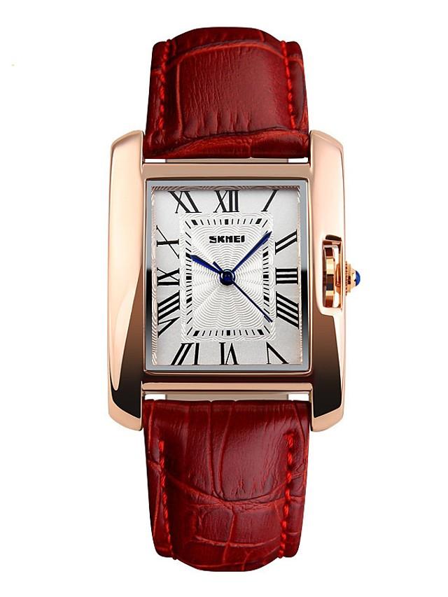 SKMEI Women's Wrist Watch Square Watch Quartz Ladies Water Resistant / Waterproof Genuine Leather Black / Red Analog - Black Red Coffee / Japanese / Large Dial / Japanese