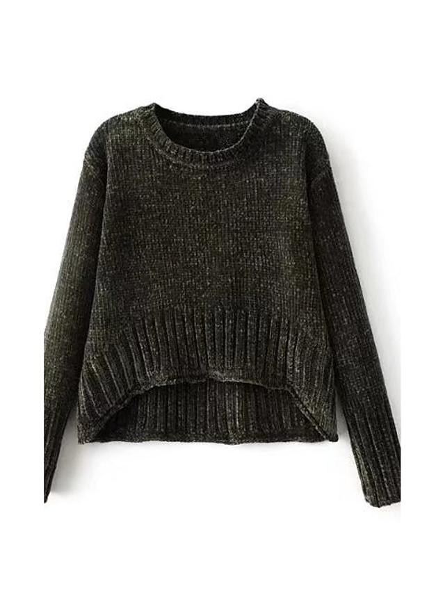 Standard Pullover Da donna-Per uscire Casual Semplice Romantico Tinta unita Rotonda Manica lunga Cotone Primavera Autunno Sottile Medio
