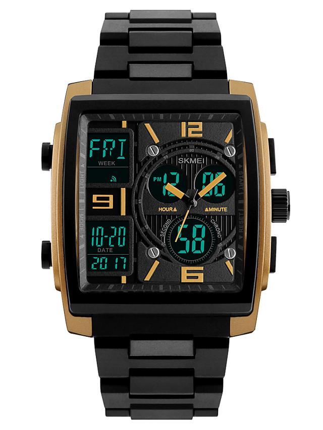 SKMEI Men's Sport Watch Wrist Watch Digital Watch Digital Classic Water Resistant / Waterproof Analog - Digital Golden Black Red / Two Years / Quilted PU Leather / Japanese / Alarm