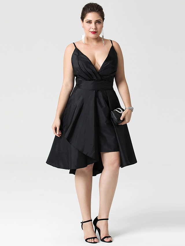 A-Line Fit & Flare Little Black Dress Convertible Dress Cute Holiday Homecoming Cocktail Party Dress Plunging Neck Sleeveless Asymmetrical Taffeta with Buttons Pleats 2021